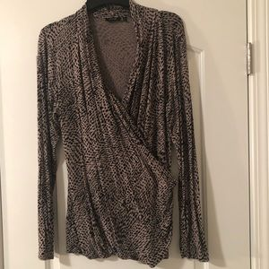 Long sleeve wrap top in animal / cheetah print